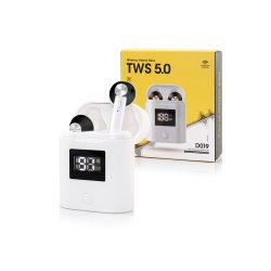 TWS Bluetooth sztereó headset v5.0 + töltőtok - TWS D019 True Wireless Earphones - black/white