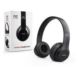 Univerzális Wireless Bluetooth sztereó fejhallgató beépített mikrofonnal - P47 Wireless Headphones - fekete