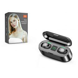 TWS Bluetooth sztereó headset v5.0 + töltőtok - TWS F9 True Wireless Earphones - black