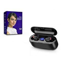 TWS Bluetooth sztereó headset v5.0 + töltőtok - TWS Q32 True Wireless Earphones - black