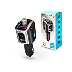 Extreme Bluetooth FM-transmitter/szivargyújtó töltő - USB QC3.0 + PD + microSD / Pendrive olvasó - Extreme BC67 - 5V/3A - fekete