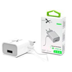 Extreme hálózati töltő Lightning kábellel + USB csatlakozóval - 5V/2.4A - Extreme LAD0254 - fehér