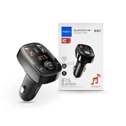 Rock Bluetooth FM-transmitter / szivargyújtó töltő - 2xUSB + MP3 + TF-kártyaolvasó + Type-C + PD/QC3.0 - Rock B301 - black