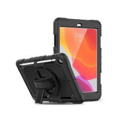 Apple iPad 10.2 (2019/2020) ütésálló védőtok 360 fokos védelemmel, 4H kijelzővédő üveggel - fekete (ECO csomagolás)