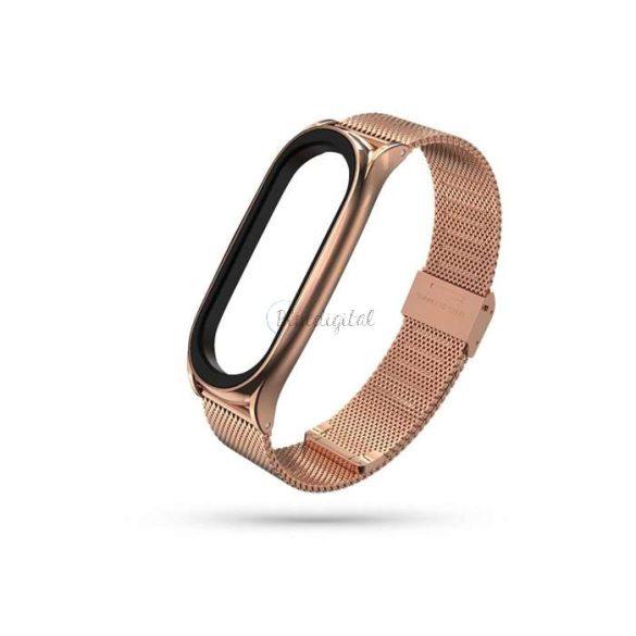 Xiaomi Mi Smart Band 5/Mi Smart Band 6 aktivitásmérőhöz fém szíj rozsdamentes acélból - Milanese - rose gold