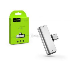 HOCO USB Type-C + 3.5 mm jack adapter egyidőben történő töltéshez és zenehallgatáshoz - HOCO LS26 2in1 Converter - ezüst