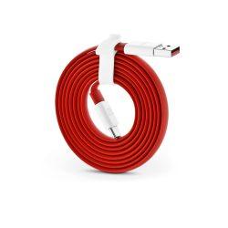 USB - USB Type-C gyári adat- és töltőkábel 150 cm-es vezetékkel - OnePlus Fast Charge D401 Flat - red (ECO csomagolás)
