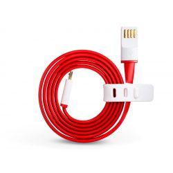 OnePlus gyári micro USB adat- és töltőkábel 1 m-es lapos vezetékkel - piros/fehér (ECO csomagolás)