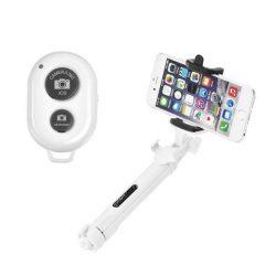 Combo szelfi selfie bot állvány és távvezérlő bluetooth fehér