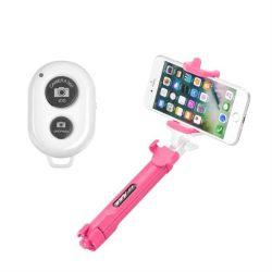 Combo szelfi selfie bot állvány és távvezérlő bluetooth rózsaszín