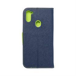 Fancy flipes tok Samsung Galaxy A11 sötétkék / lime telefontok