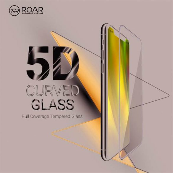 5D teljes felületen ragasztós Roar Glass - Xiaomi redmi 9 fekete üvegfólia