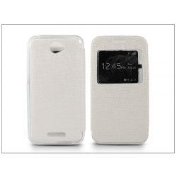 Sony Xperia E4 (E2104/E2105) S-View Flexi oldalra nyíló flipes tok - fehér