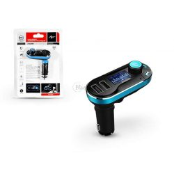 FM-05BT FM-transmitter - Bluetooth + memóriakártya olvasó + USB autós töltő + USB csatlakozó + 3,5 mm jack - 2,1A - fekete/kék