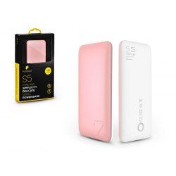 Univerzális hordozható, asztali akkumulátor töltő - Puridea S5 2xUSB 2.4A Power Bank - 7.000 mAh - pink