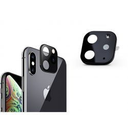 Hátsó kameravédő borító + lencsevédő edzett üveg/átalakító - Apple iPhone X/XS/XS Max készülékről Apple iPhone 11 Pro-ra - fekete