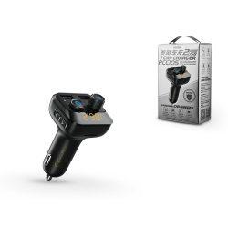 Remax Bluetooth FM-transmitter/szivargyújtó töltő - 2xUSB + microSD-kártyaolvasó - Remax RCC105 - black
