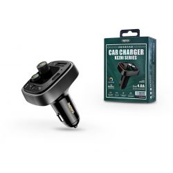 Remax Bluetooth FM-transmitter/szivargyújtó töltő - 2xUSB + kártyaolvasó + USB Flash Drive + Type-C - 5V/4.8A - Remax RCC230 - black