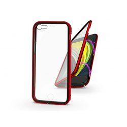 Apple iPhone 7/iPhone 8/SE 2020 mágneses, 2 részes hátlap előlapi üveggel - Magneto 360 - piros