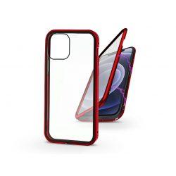 Apple iPhone 12/12 Pro mágneses, 2 részes hátlap előlapi üveggel - Magneto 360 - piros