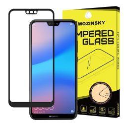 Huawei P20 LITE edzett üveg FEKETE TELJES KÉPERNYŐS FULL SCREEN HAJLÍTOTT tempered glass kijelzőfólia kijelzővédő védőfólia karcálló kijelzős