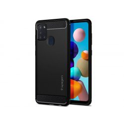 Samsung A217F Galaxy A21s ütésálló hátlap - Spigen Rugged Armor - fekete