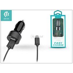 Devia Dual szivargyújtós töltő adapter + micro USB kábel 1 m-es vezetékkel - Devia Smart Dual USB Fast Charge for Android - 5V/2,4A - black