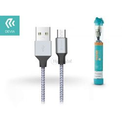 USB - micro USB adat- és töltőkábel 1 m-es vezetékkel - Devia Tube for Android USB 2.4A - silver/blue