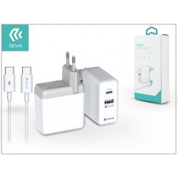 Devia USB hálózati gyorstöltő adapter + USB Type-C kábel - Devia Apple PD3.0 Quick Charge Pack QC3.0 - white - 36W