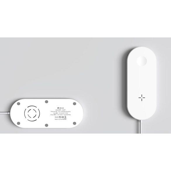 Devia Qi univerzális vezeték nélküli töltő állomás - 5V/1A - Devia AirPower 2in1 Wireless Charger for Smartphone and Apple Watch - white