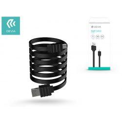 USB - micro USB adat- és töltőkábel 1 m-es vezetékkel - Devia Flat Cable USB 2.0 - black
