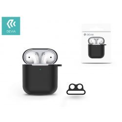 Devia szilikon tok AirPods fülhallgatóhoz - Devia AirPods v.2 Naked Silicone Case Suit for AirPods (whit loophole) - black