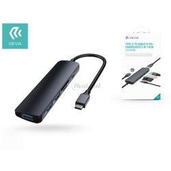 Devia USB Type-C - 3xUSB 3.0 + PD + kártyaolvasó elosztó/adapter - Devia Leopard 5 in 1 Hub - black