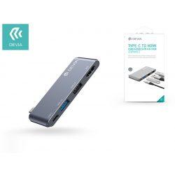 Devia USB Type-C - USB 3.0 + USB 2.0 + PD + HDMI elosztó/adapter - Devia Leopard-2 4 in 1 Hub - grey
