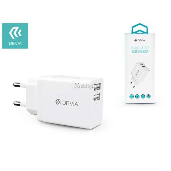 Devia univerzális USB hálózati töltő adapter 2xUSB - 5V/2,4A - Devia Smart Series 2 USB Charger - white