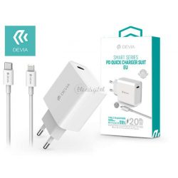 Devia hálózati töltő adapter Type-C bemenettel + Type-C - Lightning adatkábel - 20W - Devia Smart Series PD3.0 Quick Charger Suit - white