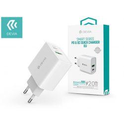 Devia hálózati töltő adapter Type-C + USB bemenettel - 20W - Devia Smart Series PD3.0 + QC3.0 - Qualcomm Quick Charge 3.0 - white