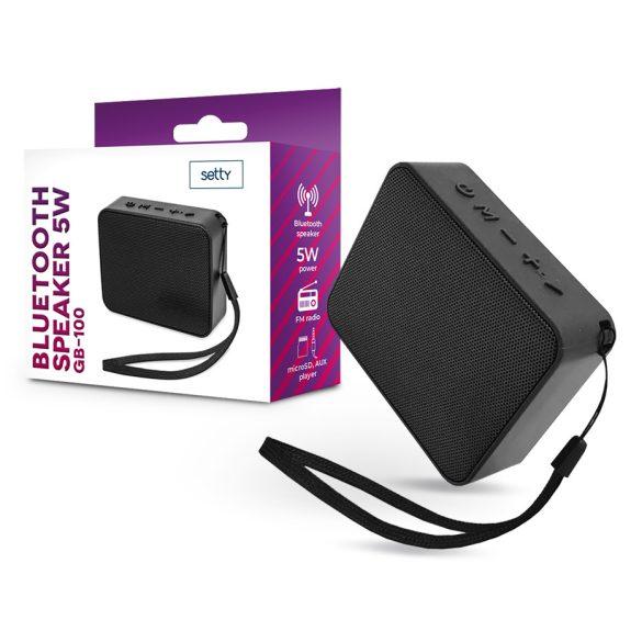 Setty vezeték nélküli bluetooth hangszóró + beépített FM-rádió + AUX + kártyaolvasó + mikrofon - Setty GB-100 / 99285 Bluetooth Speaker 5W - fekete